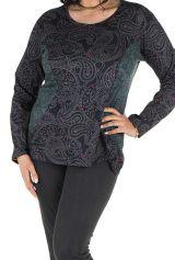 Tunique grande taille Noire imprimés tendances manches longues Ninou 302385