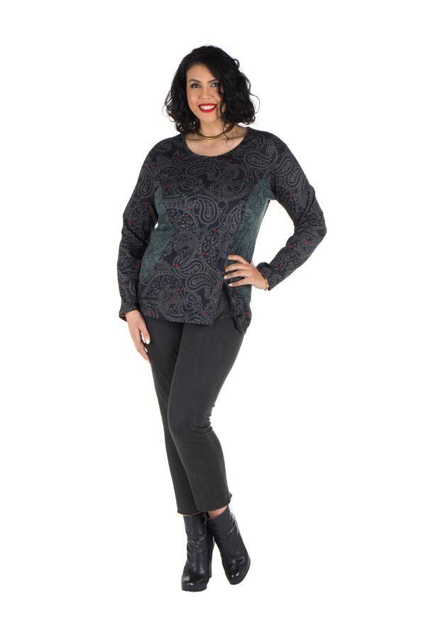 Tunique grande taille Noire imprimés tendances manches longues Ninou 302386