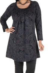 Tunique grande taille Noire motifs style arabesques Guenale 301961