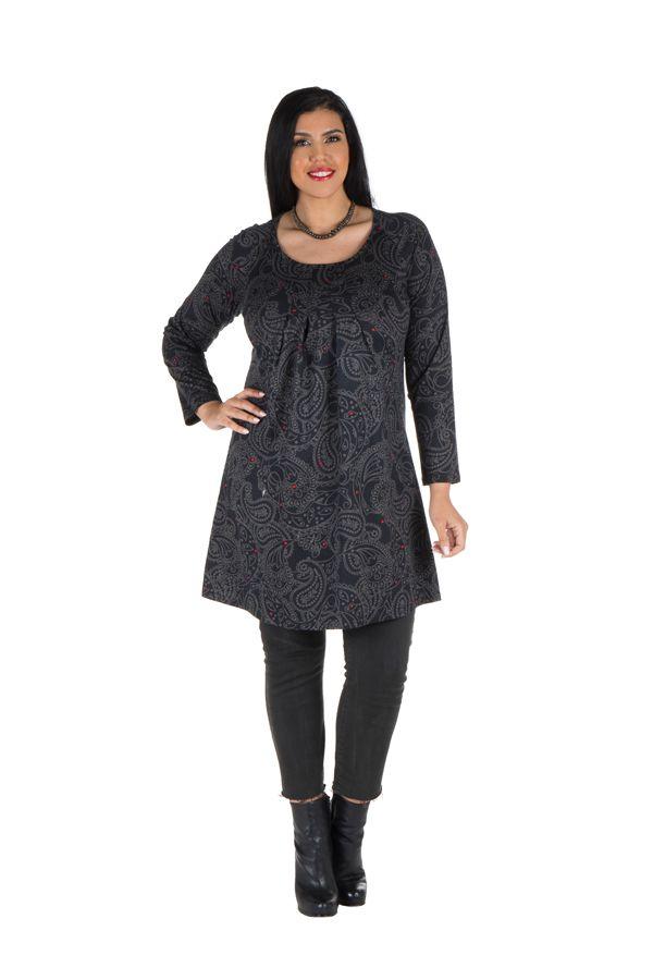 Tunique grande taille Noire motifs style arabesques Guenale 301962