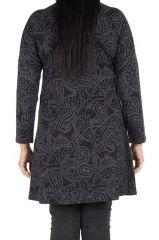 Tunique grande taille Noire motifs style arabesques Guenale 301963