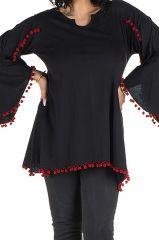 Tunique grande taille Noire style kimono avec pompons rouges Juliette 302067