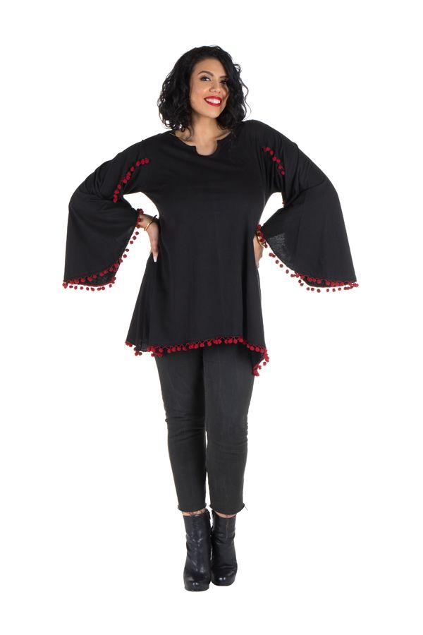 Tunique grande taille Noire style kimono avec pompons rouges Juliette 302069