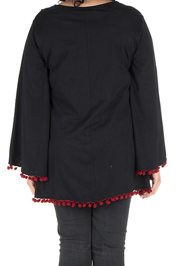 Tunique grande taille Noire style kimono avec pompons rouges Juliette 302071