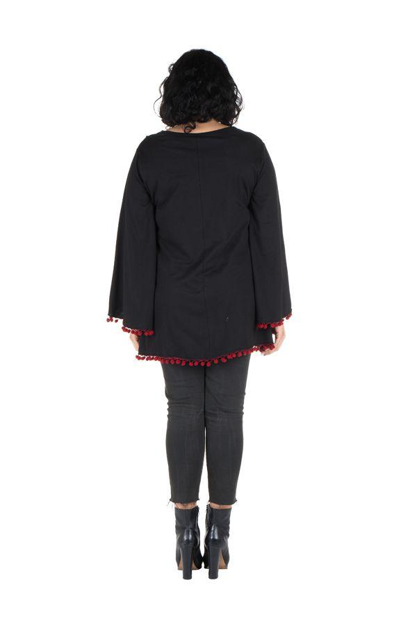 Tunique grande taille Noire style kimono avec pompons rouges Juliette 302073