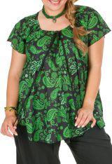 Tunique grande taille originale avec des arabesques vertes Allana 306437