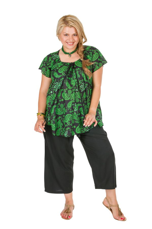 Tunique grande taille originale avec des arabesques vertes Allana 306438
