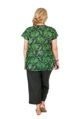 Tunique grande taille originale avec des arabesques vertes Allana 306439