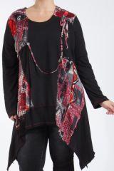Tunique grande taille originale coupe asymétrique noir et rouge Lyna 305238