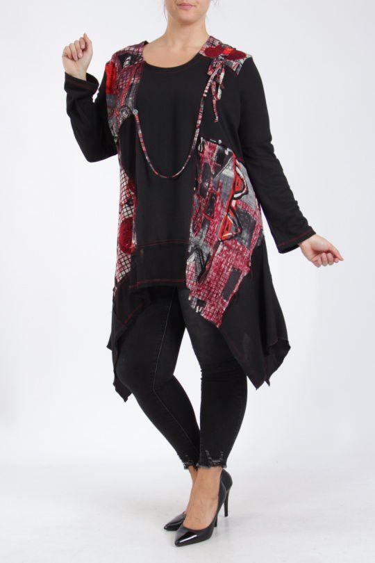 Tunique grande taille originale coupe asymétrique noir et rouge Lyna 305239