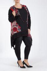 Tunique grande taille originale coupe asymétrique noir et rouge Lyna 305240