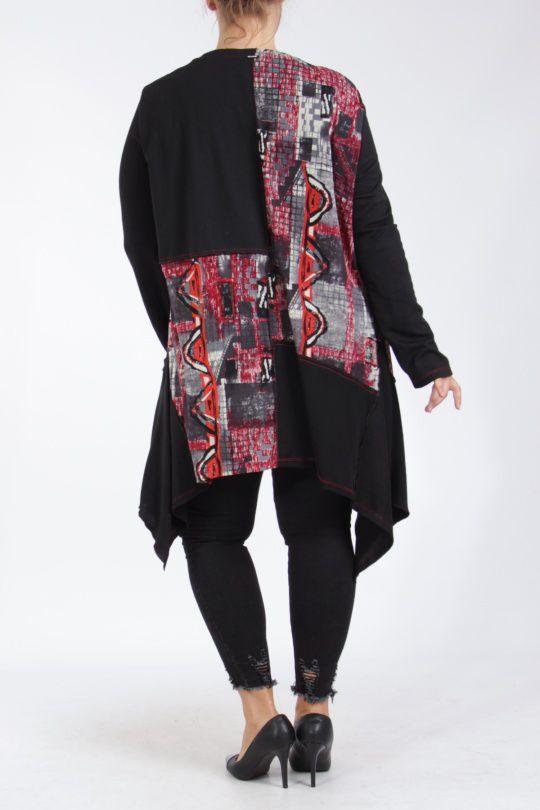 Tunique grande taille originale coupe asymétrique noir et rouge Lyna