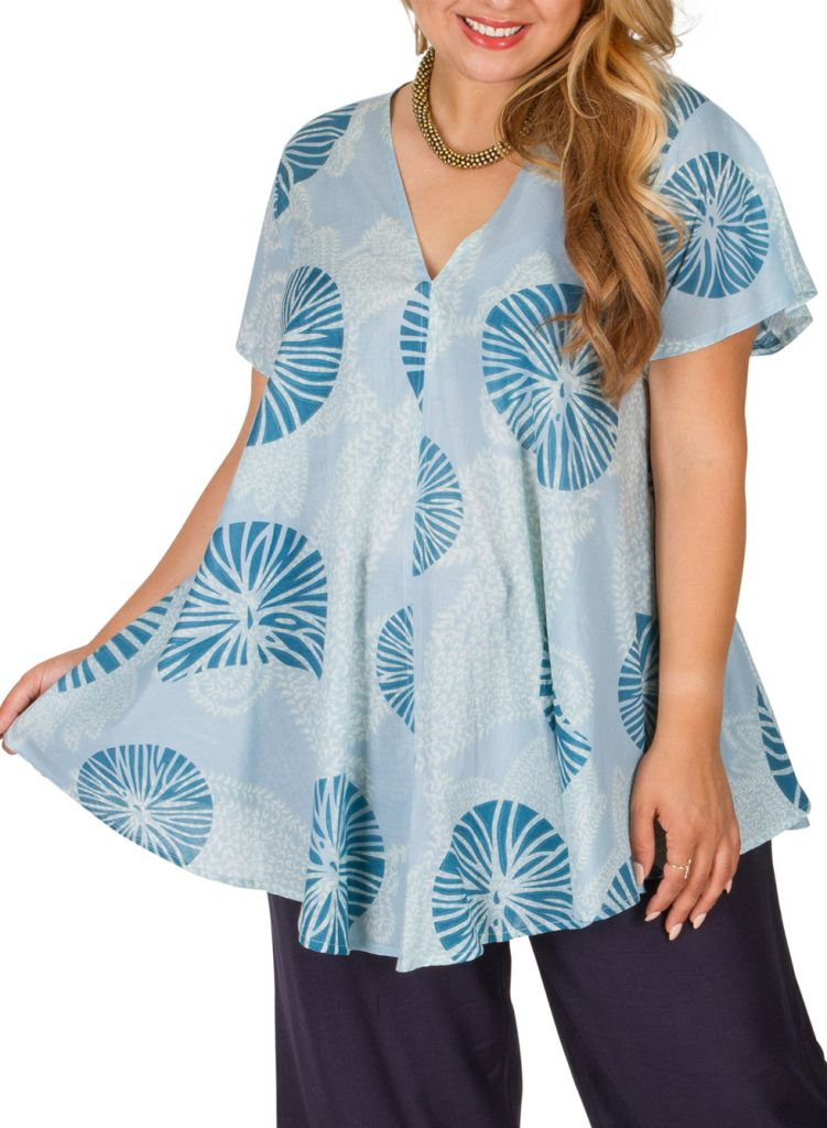 Tunique grande taille originale et ethnique bleue Maude 309824