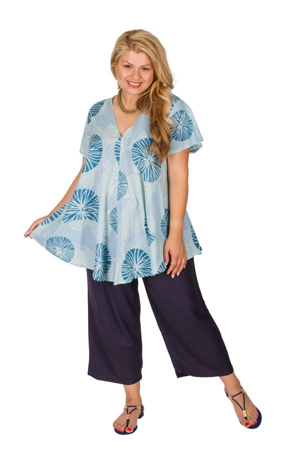 Tunique grande taille originale et ethnique bleue Maude 309825