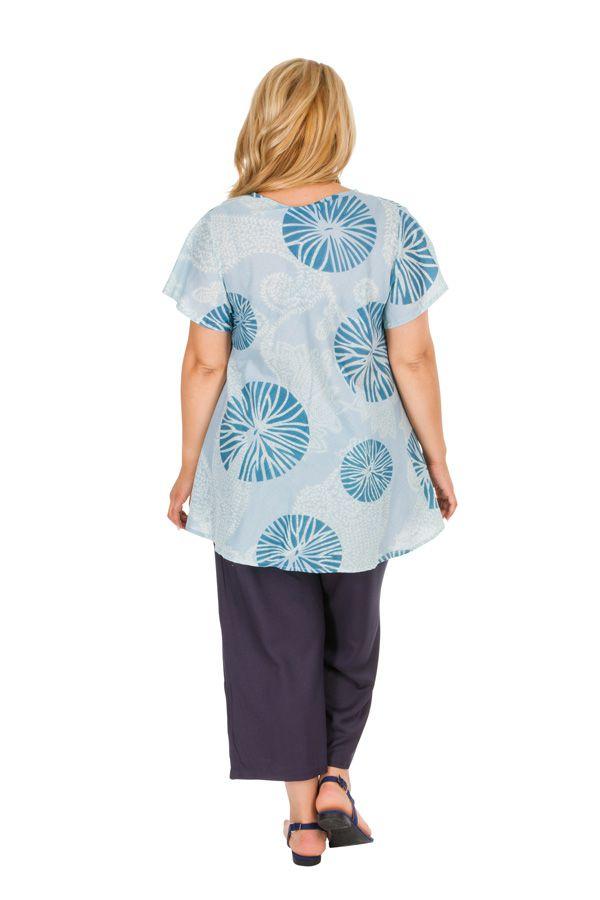 Tunique grande taille originale et ethnique bleue Maude 309826