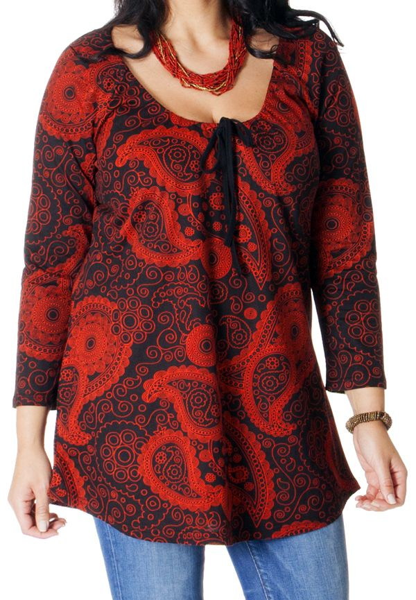 Tunique Grande taille Originale et Imprimée Diana Rouge 286703