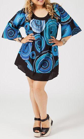 Tunique grande taille pas chère originale noire et bleue Envia 271203