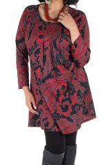 Tunique grande taille Rouge imprimées arabesque et tissu plissé Esteban 301953