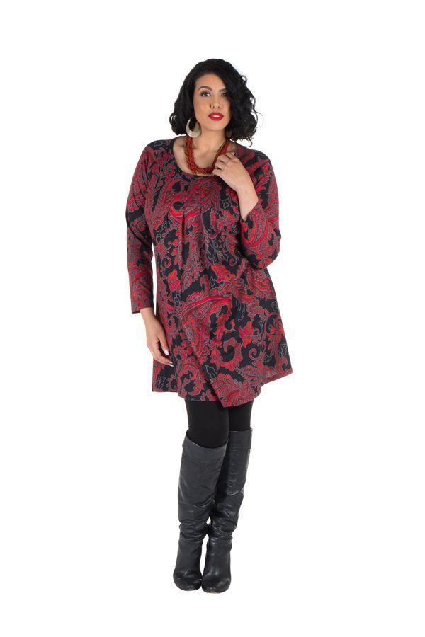 Tunique grande taille Rouge imprimées arabesque et tissu plissé Esteban 301954