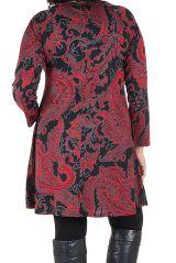 Tunique grande taille Rouge imprimées arabesque et tissu plissé Esteban 301955