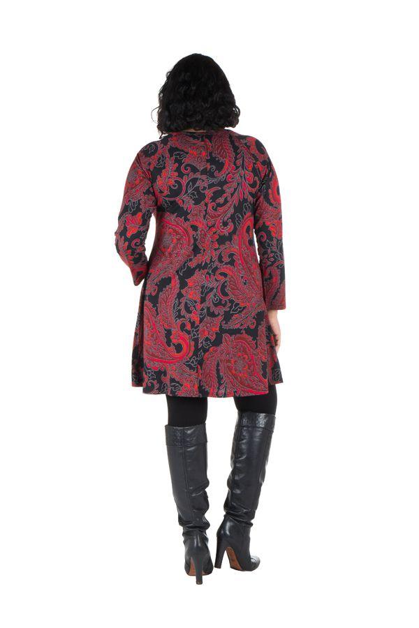 Tunique grande taille Rouge imprimées arabesque et tissu plissé Esteban