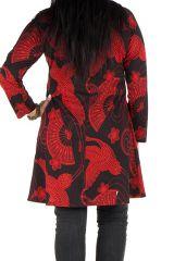 Tunique grande taille Rouge imprimés oiseaux et tissu plissé Diégo 301971