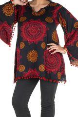 Tunique grande taille Rouge motifs mandala manches évasées Talia 302037