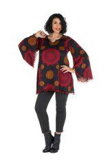 Tunique grande taille Rouge motifs mandala manches évasées Talia 302038