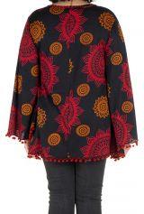 Tunique grande taille Rouge motifs mandala manches évasées Talia 302039