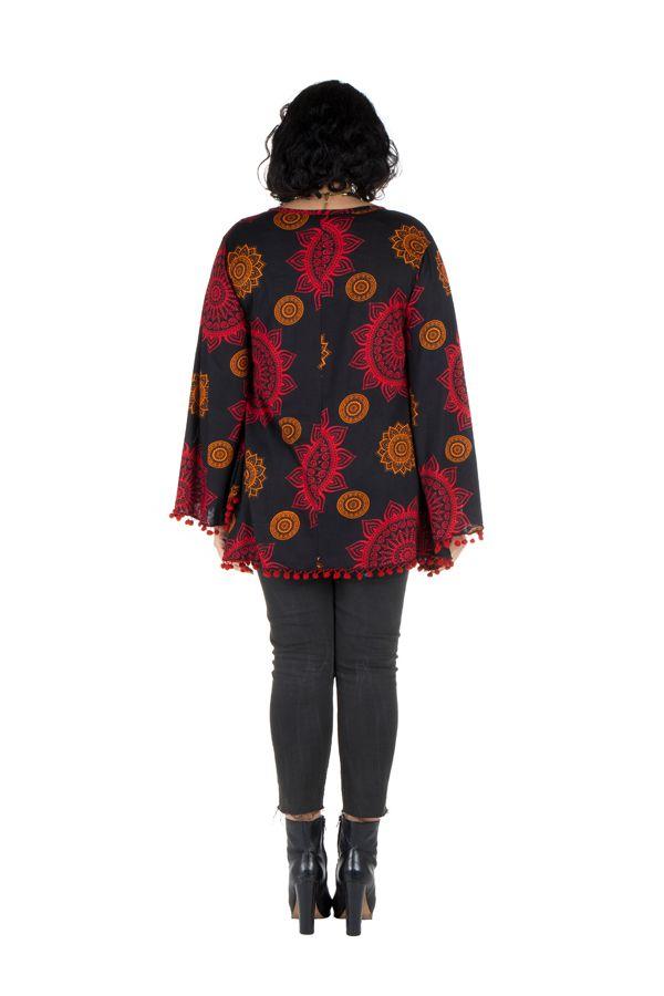 Tunique grande taille Rouge motifs mandala manches évasées Talia