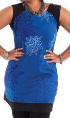 Tunique Grande taille sans manches et originale Katrina Bleue 284549