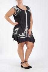 Tunique grande taille sans manches noire et blanche Uzi 305294