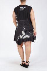 Tunique grande taille sans manches noire et blanche Uzi