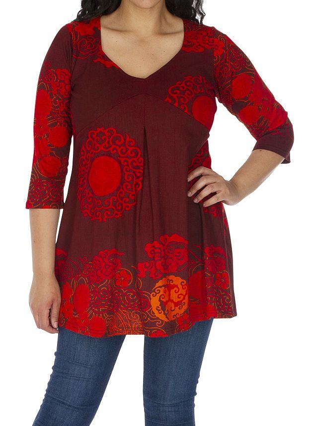 Tunique grande taille sensuelle et ethnique Karuzi rouge 313746