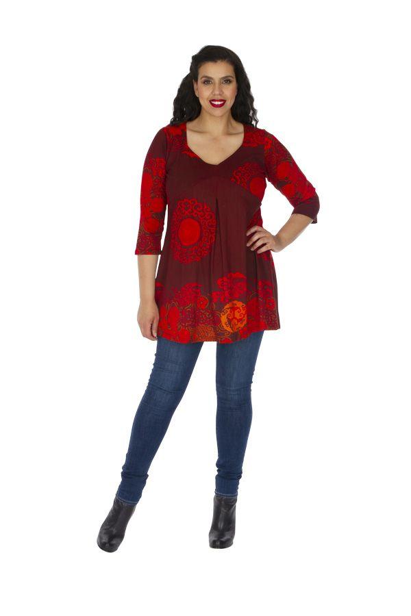 Tunique grande taille sensuelle et ethnique Karuzi rouge 313747