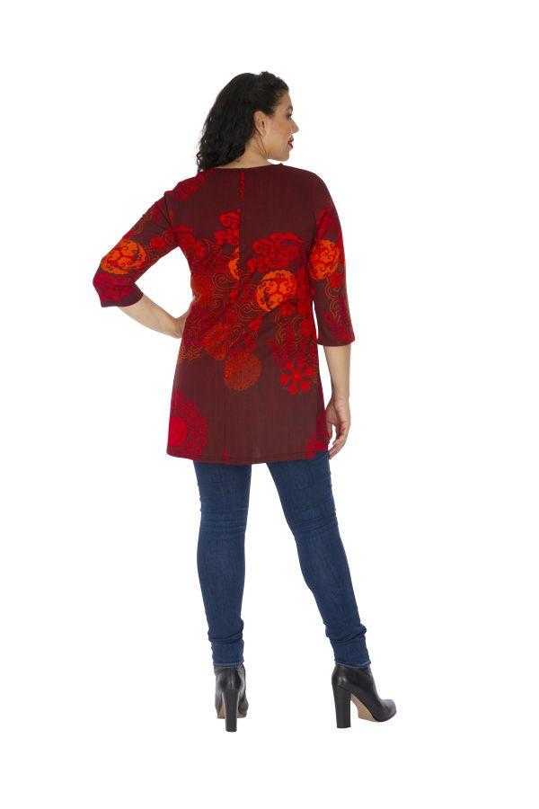 Tunique grande taille sensuelle et ethnique Karuzi rouge 313748