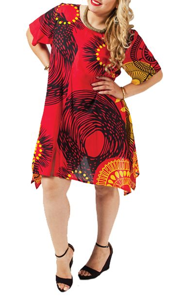 Tunique grande taille tons rouge Joanne 267647