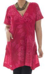 Tunique grande taille très féminine avec mandalas rose Bertille 295305