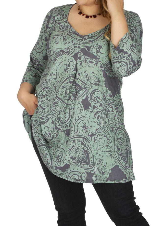 Tunique grande taille très féminine Karuzi gris et vert 313743