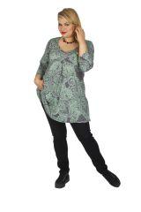 Tunique grande taille très féminine Karuzi gris et vert 313744