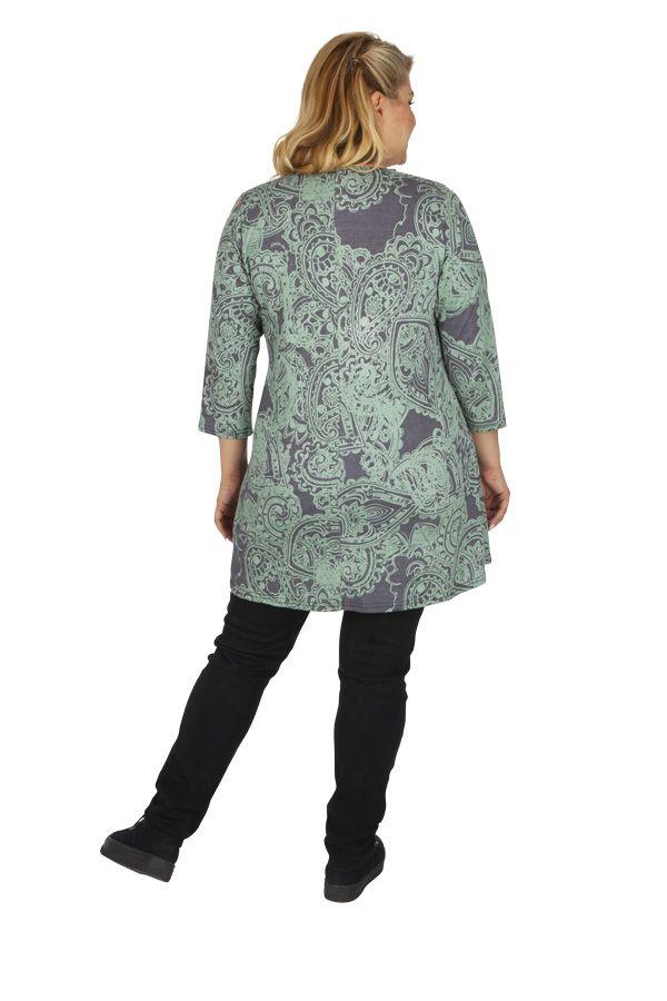 Tunique grande taille très féminine Karuzi gris et vert 313745