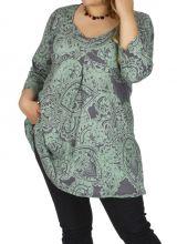 Tunique grande taille très féminine Karuzi gris et vert 314911