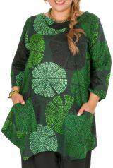 Tunique grande taille très jolie en tons verts Melissa 309842