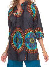 Tunique Grise pour Femme à col Indien Colorée et Originale Gafsa 281830