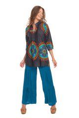 Tunique Grise pour Femme à col Indien Colorée et Originale Gafsa 281831
