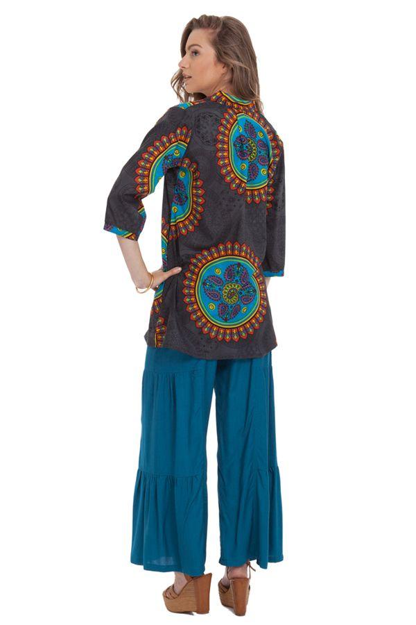 Tunique Grise pour Femme à col Indien Colorée et Originale Gafsa 281832