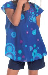 Tunique Imprimée à col rond pour Fille Guimauve Bleue et cercles 280553