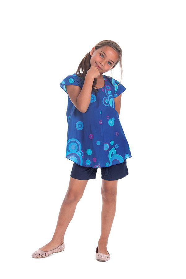 Tunique Imprimée à col rond pour Fille Guimauve Bleue et cercles 280554