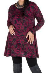 Tunique imprimée feuillage Noire et Rose Lazy en Grande taille 301085