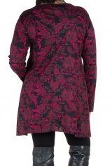 Tunique imprimée feuillage Noire et Rose Lazy en Grande taille 301086